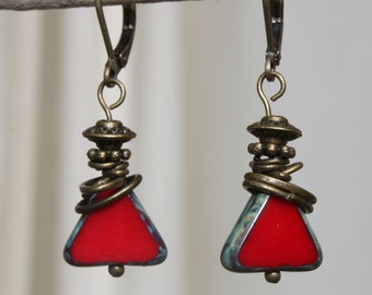 Red Earrings, Czech Glass Earrings, Dangle Earrings, Drop Earrings, Geometric Earrings, Valentine's Gift, Gift for her, Gift for women