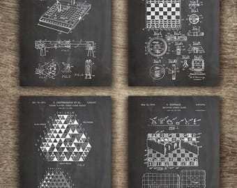 Chess Patent Set of 4 Prints, Chess Printable Decor, Chess Wall Decor, Chess Poster, Gift For Dad, Chess Set of 4 Prints - INSTANT DOWNLOAD