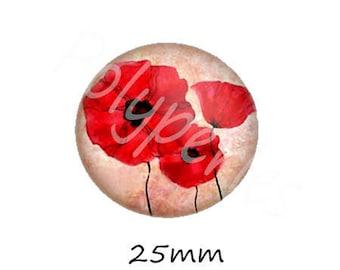 1 cabochon 25mm glass red poppy flower holder