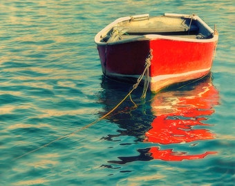 Lake House Decor | Red Wooden Boat Art Print | 8x10 Print Endless Summer | Turquoise Water | Nautical Art | Home Decor  Office Wall Art fpoe