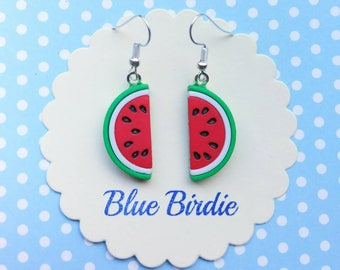Watermelon dangle earrings watermelon jewellery watermelon jewelry half watermelon dangle earrings fruit jewellery summer earrings