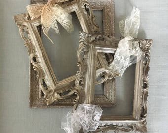 Handmade wood frames in shabby chic style