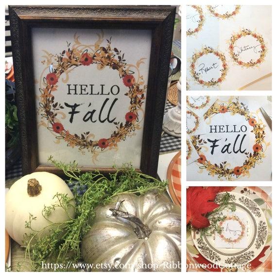 Hello Fall Printable Wreath Bundle - Print and Frame