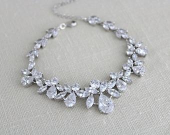 Crystal Bridal bracelet, Wedding jewelry, Wedding bracelet, Cuff bracelet, Bridesmaid jewelry, Rose gold bracelet, Swarovski bracelet