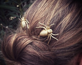 Spider Hair Pins Gold Spider Bobby Pins Brass Hair Pins Nature Hair Clips  Halloween Hair Halloween Accessories