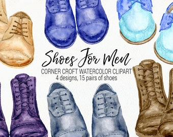 Watercolor shoes for men, formal shoes, casual shoes, boots,  shoe clipart  for Instant download