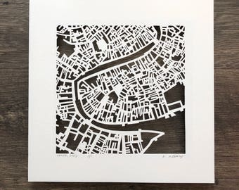 Venice, Rome, Florence, Milan, Capri, Anacapri or Siena Hand Cut Map