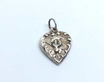 Vintage Sterling Silver Calla Lily Puffy Heart Sweetheart Charm for bracelet