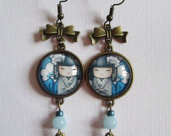 """Dangling earrings """"Blue Kokeshi"""", bronze"""