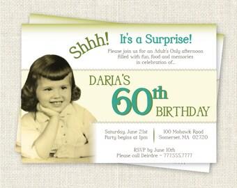 Surprise 60th Birthday Invitation, Digital Printable File