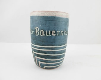 Mug - 'der Bauernhof' - 'The Farm' - Artisan Designed Mug - Pencil Holder - Greyblue on Tan - Deeply Etched Geometric Lines - Cup and a Half