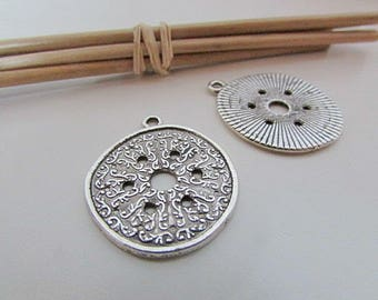 2 charm Locket, 29 x 24 mm sterling silver - 2 mm hole - 31.22