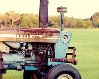 rustic home decor, tractor photography, farm, vintage, rusted, blue decor, rustic wall art, baby blue, nursery art, Vintage Tractor