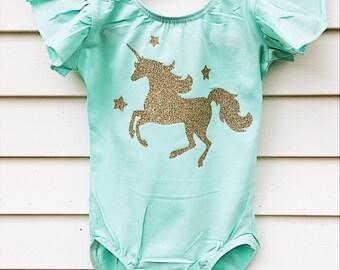 Unicorn leotard - unicorn party- unicorn birthday- toddler leotard girls leotard - child leotard - gymnastics leotard - birthday leotard