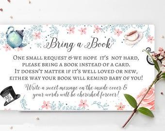 Baby Shower  Bring a book Instead of Card-  Alice in Wonderland baby shower Invitation insert, baby shower card-shower games-Printable 3.5x2