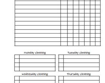 A5 Cleaning log