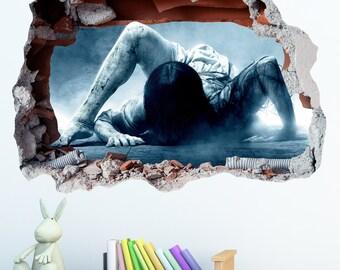 Rings Horror Smashed Wall Sticker in Wall Crack Kids Boys Girls Bedroom Vinyl Decal Art Sticker Gift New