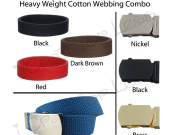"""1 - 1"""" Canvas Military Web Belt for Kids, Pick from 21 Colors, 3 Finishes and 4 Sizes - SEE COUPON"""