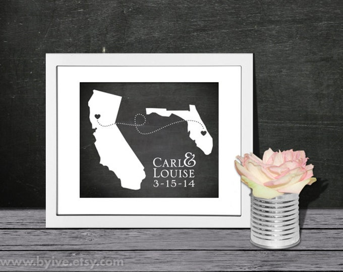California and Florida State Map Sign Art. Chalkboard background. Wedding or Anniversary Gift. Custom Couple Name. Unframed.