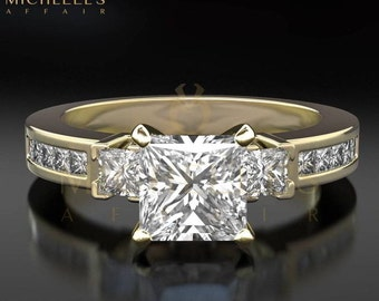 Diamond Engagement Ring For Women 2.4 Carat F SI2 Princess Cut With Side Accents In 18 Karat Yellow Gold Setting