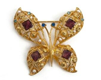 1980s 1990s AVON Gold Tone Filigree Purple Plum Enamel Rhinestones Faux Pearls and Enamel Butterfly Vintage Pin Brooch