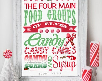 Christmas Candy Buddy Elf Poster - INSTANT DOWNLOAD - Art Print Quote Sign, Xmas Poster Printable Decoration by Sassaby Parties