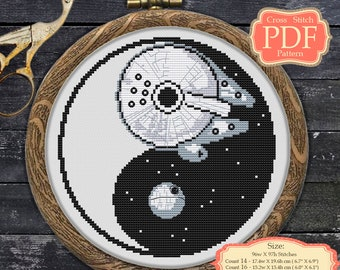 YinYang Cross stitch PDF pattern - Death Star - Millenium Falcon - Star Wars