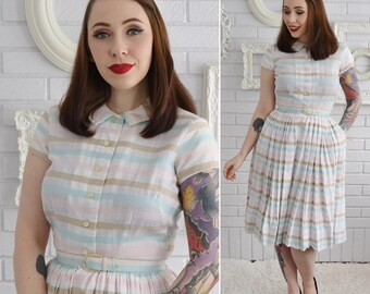 Vintage 1950s Off-White and Pastel Striped Cotton Dress with Belt and Pockets by Muriel Ryan Size XS