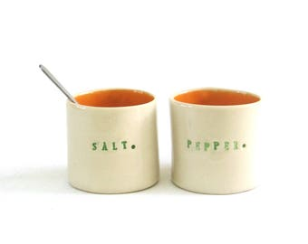 petite hand built porcelain salt and pepper cellars ... vessels