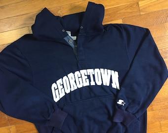 90s Georgetown Hoyas Starter Hoodie size LARGE ~ 26237