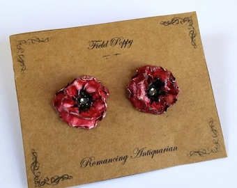 Red Poppy Silver Earring Studs, Handcrafted Floral Jewelry