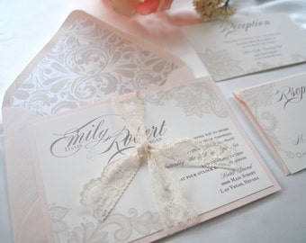 Ivory, Blush Lace Wedding Invitation-Lovely, Champagne (NOT A SAMPLE LISTING)- Colors/wording/materials Customizable