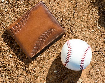 BASEBALL DOUBLE I.D. Bifold Embossed Leather Wallet • PERSONALIZED Leather Wallet • Men's Gifts • Baseball Wallet