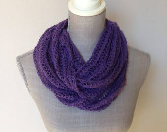 """Collar scarf in lace garments-38 cm/130 cm-lace knitted scarf-Alpaca/silk-""""Purple/Violet""""-choice of 14 colours"""