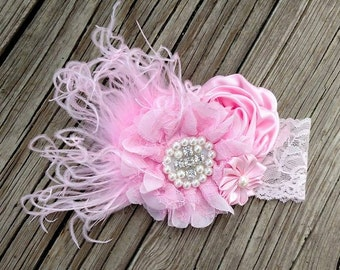 Over The Top Baby Pink lace Headband with feathers boutique headband*valentines headband*first valentines*valentines day