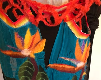Hawaii Bird of Paradise Nuno Felted on Silk Gauze