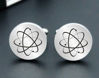 Atom molecule Cufflinks Custom Personalized Wedding Engraved Cuff Links Engrave Atom Cufflinks Atom Engraved Cufflinks for Groom Groomsman