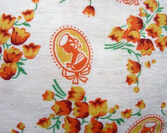 Vintage  Feedsack Flour Sack Cotton NOVELTY Fabric  -  YELLOW and ORANGE Oval Pictures, Flowers  * 36 x 42