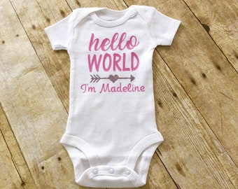 Hello World, Newborn Outift, Welcome Baby, Welcome to the World, Hospital Outfit