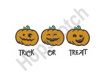 Trick Or Treat - Machine Embroidery , Jack-O-Lanterns, Pumpkins, Halloween