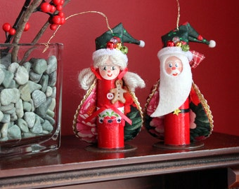 "Santa Claus and Mrs Claus Ornaments Set. Handmade from recycled materials.  Approx 3.5"" tall & 1/4 oz weight."