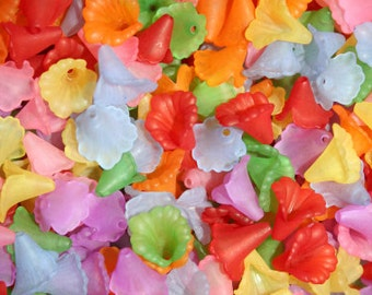 Bulk 300 Frosted Calla Lily Beads, bead mix, 12mm, flower beads, lucite style beads, jewellery making, jewelry making