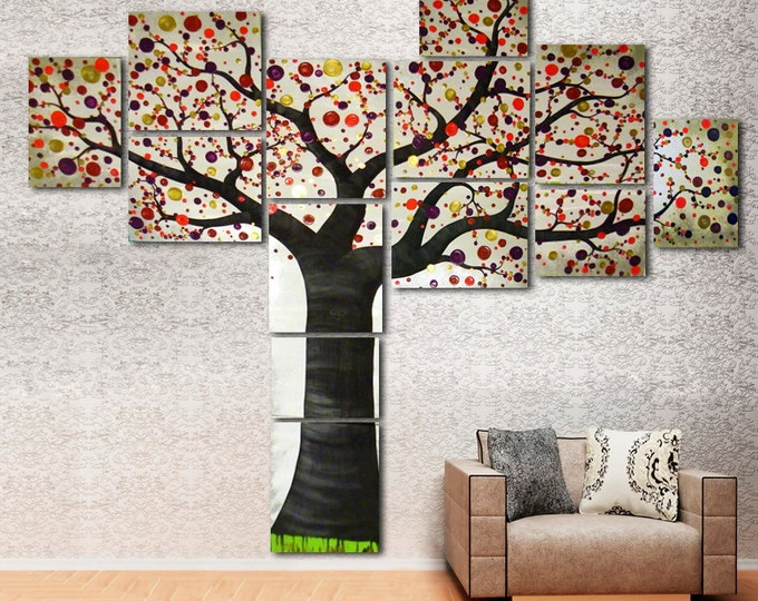 Large Original Painting on Canvas of Modern Tree of Life - Multi Canvas Wall Art Gray Purple Red for Nursery, Bedroom, Office - 7 feet tall