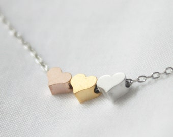 Tiny 3 hearts necklace, three hearts gold, silver, rose gold - S2357-1