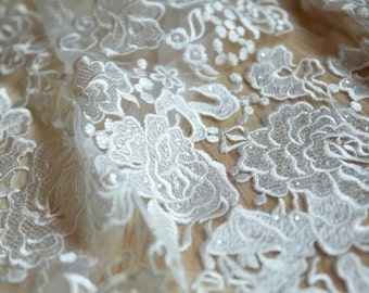 Ivory Lace fabric by the yard,, Alencon Lace, Bridal lace, Wedding Lace, Garter lace, Pearl lace, Sequin Lace, Beaded lace
