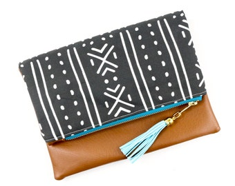 Boho Tassel Clutch in  Black and White Mud Cloth Print and Tan Vegan Leather and Gold zipper close