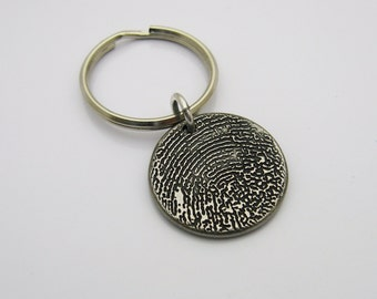 Fingerprint Keychain, Personalized Keychain, Rustic Keychain, Rugged Keychain, Gift for Men, Gift for Women, Metal Keychain, Dark Metal