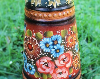 Beautiful Norwegian Rosemaling hand painted in the Valdres Style on a Pitcher