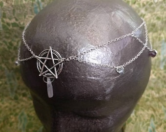 Pentagram Tiara - Pentacle Circlet - Witch Crown - Pagan Circlet - Hair Jewelry - Goddess Crown