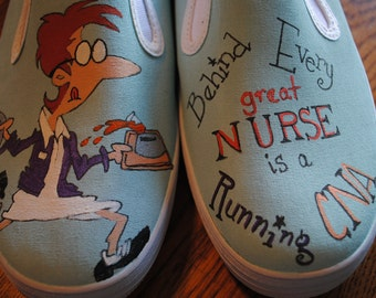 """For Sale Heeeyyy Nurses or CNA's just finished these shoes for you, """"Behind Every Great NURSE is a Running CNA"""" Womens size 8.5 Ready 2 ship"""